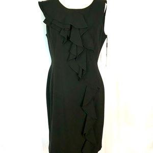 NWT Calvin Klein black classic ruffle dress 12